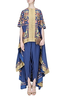 Blue Aari Work Kaftan with Dhoti Pants by Sonali Gupta