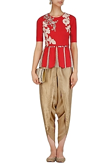 Red Floral Embroidered Peplum and Dhoti Pants Set by Sonali Gupta