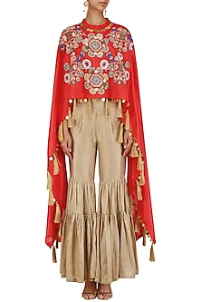 Red Floral Embroidered Kaftan and Sharara Pants Set by Sonali Gupta