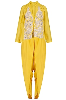 Yellow Floral Embroidered Shirt and Dhoti Pants Set