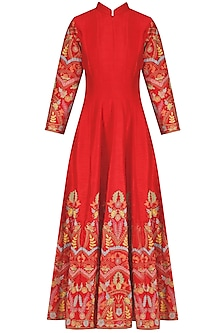 Red Floral Embroidered Anarkali Kurta