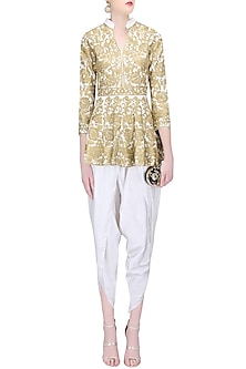 White Zari Work Peplum Short Kurta with Dhoti Pants by Sonali Gupta