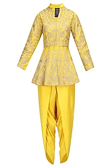 Yellow Zari Work Peplum Short Kurta with Dhoti Pants by Sonali Gupta