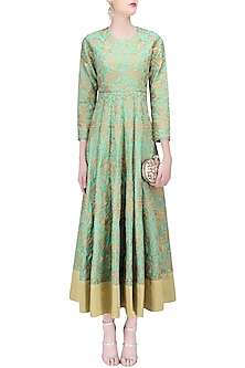 Sea Green and Gold Zari Work Anarkali by Sonali Gupta