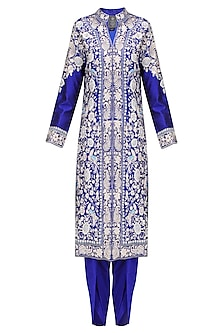 Royal Blue Thread Embroidered Jacket Kurta with Matching Dhothi Pants by Sonali Gupta