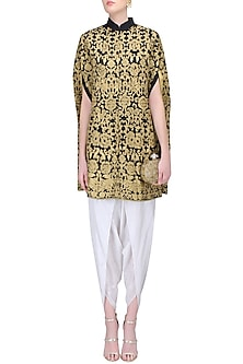 Black Zari Embroidered Kaftan with White Dhoti Pants by Sonali Gupta