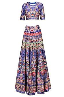 Royal Blue Floral Embroidered Jaal Work Lehenga Set
