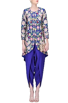 Blue Thread Work Aysmmetric Jacket Kurta with Dhoti Pants by Sonali Gupta