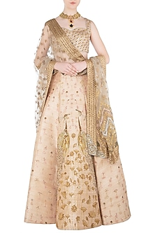 Beige Embroidered Lehenga Set by Soltee By Sulakshana Monga