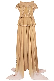 Gold Embroidered Asymmetrical Gown