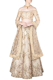 Beige Zari Embroidered Lehenga Set by Soltee By Sulakshana Monga
