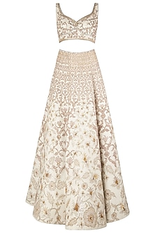 Ivory Embroidered Lehenga Set by Soltee By Sulakshana Monga