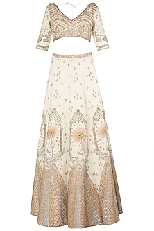 Ivory and Gold Zari Embroidered Lehenga Set