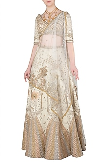 Ivory and Gold Zari Embroidered Lehenga Set by Soltee By Sulakshana Monga