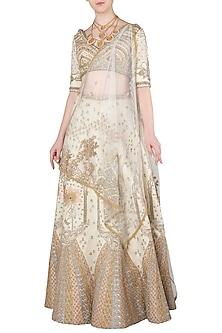 Ivory and Gold Zari Embroidered Lehenga Set by Soltee By Sulakshana Monga
