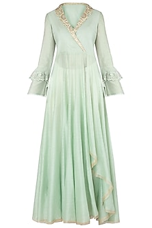 Pista Green Embroidered Angrakha Kurta with Pants