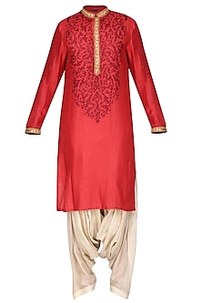 Maroon Embroidered Kurta with Salwar Pants