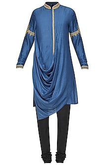 Sapphire Blue Embroidered Kurta with Churidar Pants