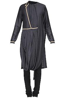 Black Embroidered Drape Kurta with Churidar Pants