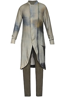 Grey Printed Tail Cut Kurta with Churidar Pants