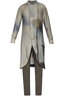 Grey Printed Tail Cut Kurta with Churidar Pants by Soltee By Sulakshana Monga Men