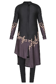 Black Patch Work Embroidered Kurta with Churidar Pants