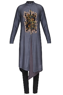 Grey Digital Patch Work Embroidered Kurta with Churidar Pants