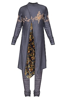 Grey Embroidered Floral Kurta with Churidar Pants