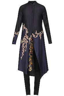 Black Asymmetrical Embroidered Kurta with Churidar Pants