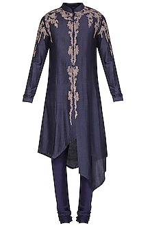 Blue Asymmetrical Embroidered Kurta with Churidar Pants