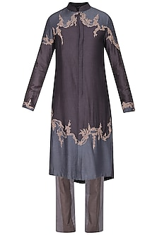 Grey Color Block Embroidered Kurta with Churidar Pants