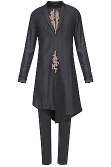 Black Indo-Western Embroidered Kurta with Churidar Pants