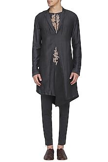 Black Indo-Western Embroidered Kurta with Churidar Pants by Soltee By Sulakshana Monga Men