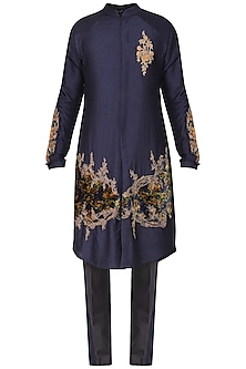 Blue Printed Embroidered Kurta with Churidar Pants