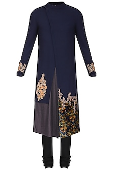 Blue Color Block Embroidered Kurta with Churidar Pants