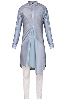 Sky Blue Textured Kurta with Churidar Pants