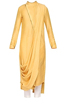 Mustard Textured Kurta with Churidar Pants