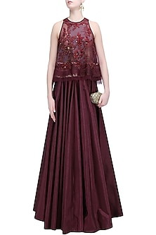 Wine Floral Thread Embroidered Crop Top and Skirt Set by Soltee By Sulakshana Monga