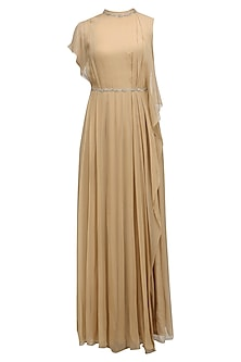 Beige Embroidered Ruffled Long Dress