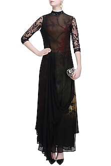 Black Drape Dress with Floral Printed Inner by Soltee By Sulakshana Monga