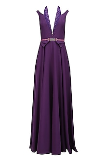 Purple Beads and Sequins Embroidered Floor Length Gown