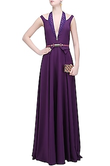 Purple Beads and Sequins Embroidered Floor Length Gown by Soltee By Sulakshana Monga