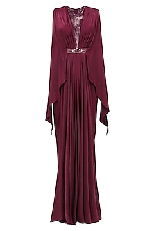 Wine Floral Embroidered Sheer Detail Gown
