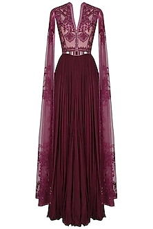 Wine Sequins and Beads Embroidered Cape Sleeves Gown
