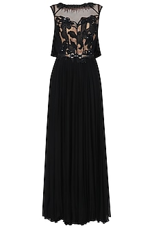 Black Thread, Sequins and Beads Embroidered Flared Gown by Soltee By Sulakshana Monga
