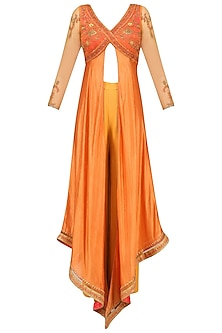 Orange Floral Embroidered Asymmetric Kurta and Palazzo Pants Set