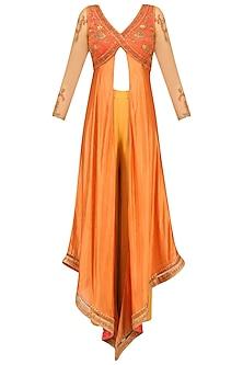 Orange Floral Embroidered Asymmetric Kurta and Palazzo Pants Set by Soltee By Sulakshana Monga