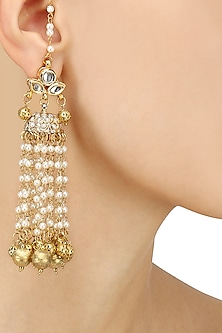 Gold Plated Kundan and Pearls Earrings by Soranam
