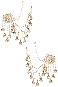 Gold Plated Kundan and Pearls Jhumki Drops Earrings by Soranam