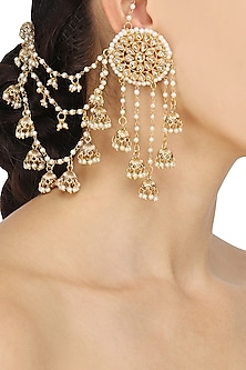 Gold Plated Kundan and Pearls Jhumki Drops Earrings